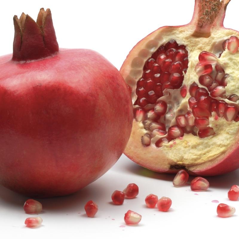 Shofar and pomegranates, isolated