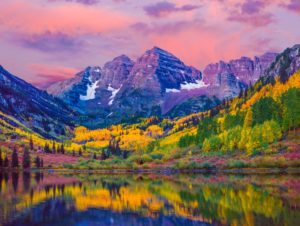Dawn at Maroon Bells With Autumn Aspen Trees and Maroon Lake in the Rocky Mountains near Aspen Colorado