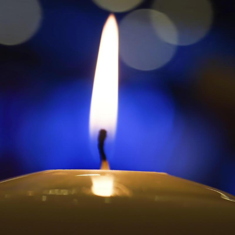 Candle light at night with bokeh