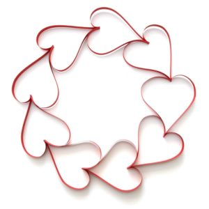 Paper hearts on white background